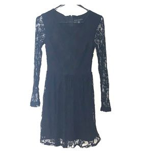 Black lace long sleeve overlay dress